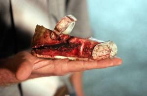 nytk_BloodychildsshoeafterrocketfiredfromGazahitIsrael